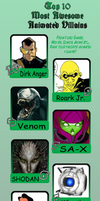 My personal Top Ten Awesome Villains Meme