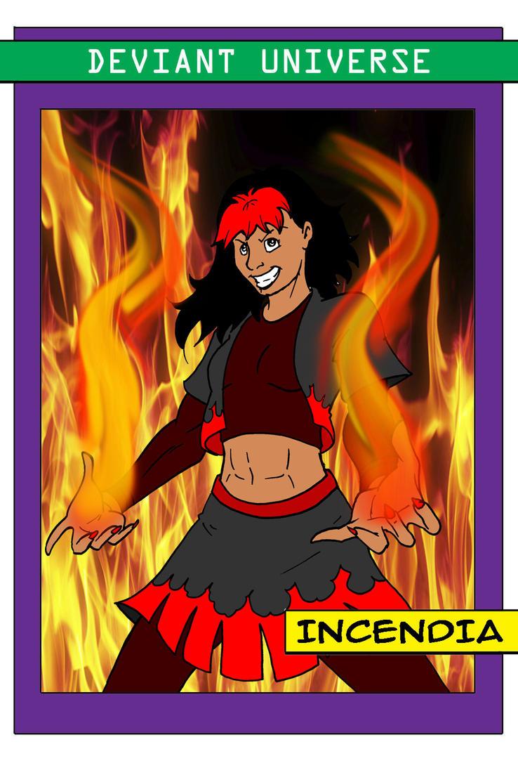 Deviant Universe Villain Trading Card Incendia by ViktorMatiesen