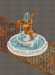 Pixel Phoenix Fountain Commission by AshKerins