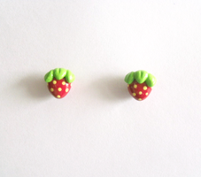Sweet Strawberry Post Earrings by MariposaMiniatures