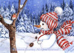 ACEO Snowman and Robin