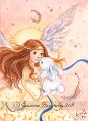 ACEO Fairy Angel and Bunny  by JoannaBromley