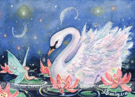 ACEO Lily Fae and Swan  by JoannaBromley