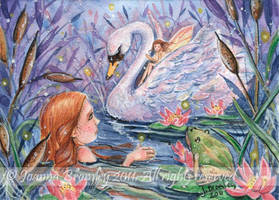 ACEO Twilight on the Lake by JoannaBromley
