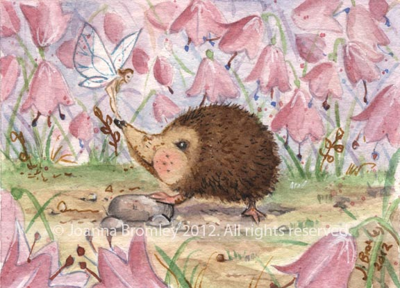 ACEO Hedgehog Pixie and Harebells by JoannaBromley