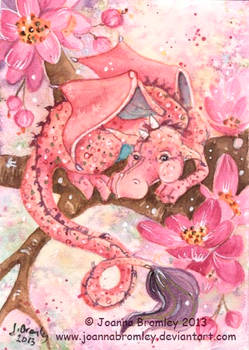 ACEO Pink Blossom Dragon