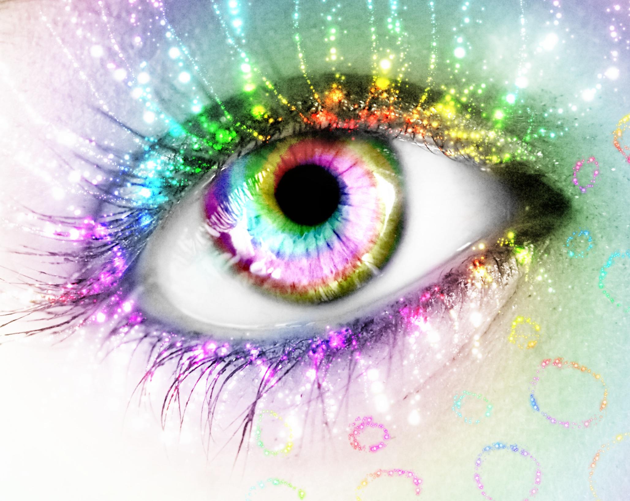 Как сделать глаза радужный