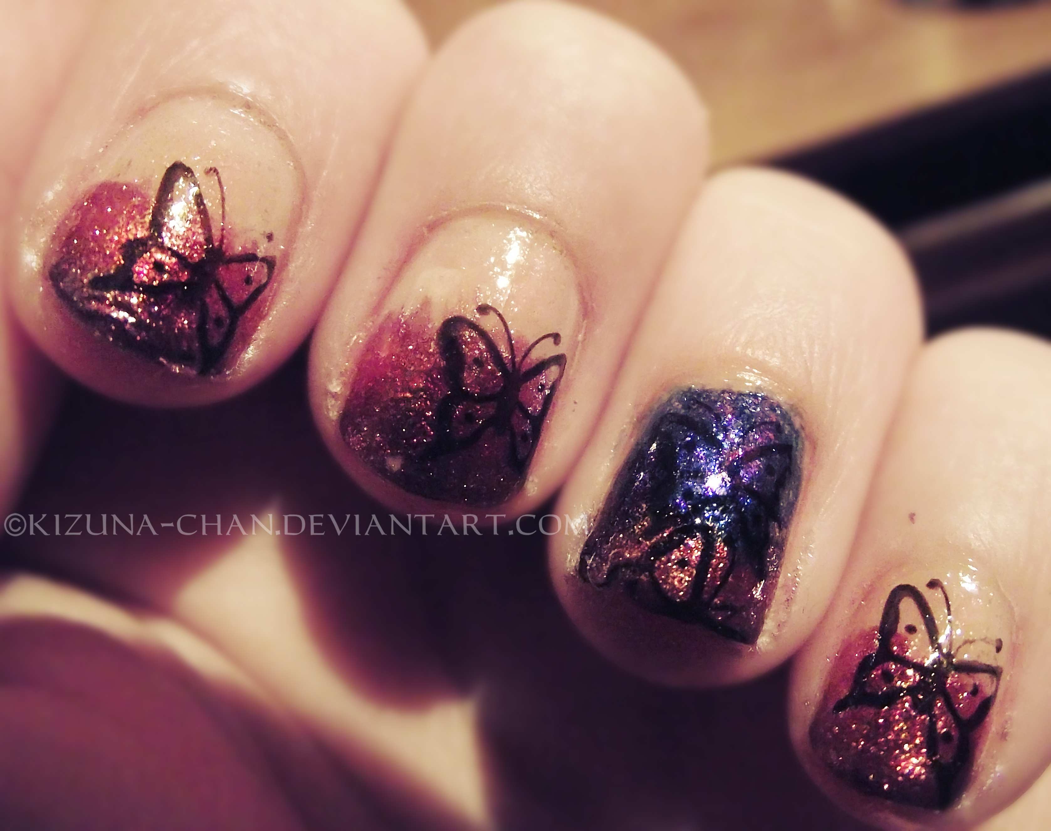 Butterfly Nail Art by Kizuna-chan