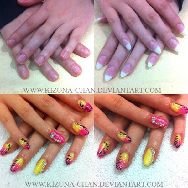 Summertime Gel Nails Before And After By Kizuna Chan