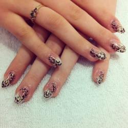 Leopard Almond Gel Nails