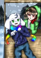 Storyshift Asriel and Chara by bianlu42
