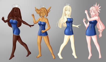 Choco Holy, Einheria, Mephilia and Aimee by AsterV