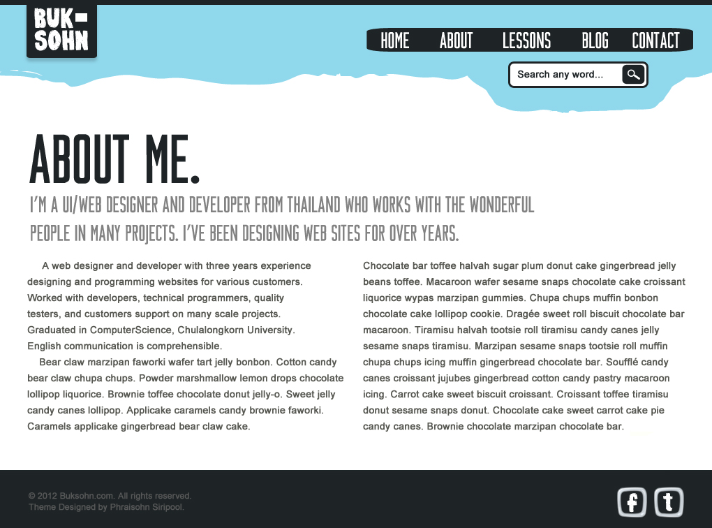 Photoshop Lessons Web Design About page