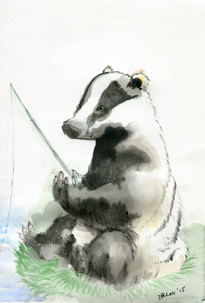 Badger goes fishing by Puddingbat