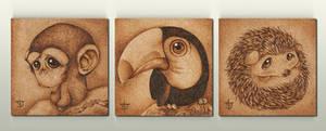 Animalitos 02 - Pirograbados