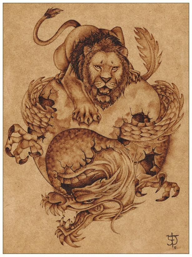 dragon y leon pirograbado by felixdasilva on deviantart On dibujos para pirograbado