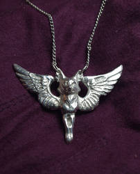 Silver Winged Fox Pendant by SovaeArt