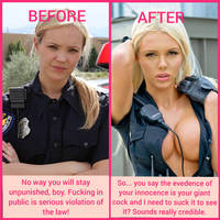 Police officer bimbofication caption