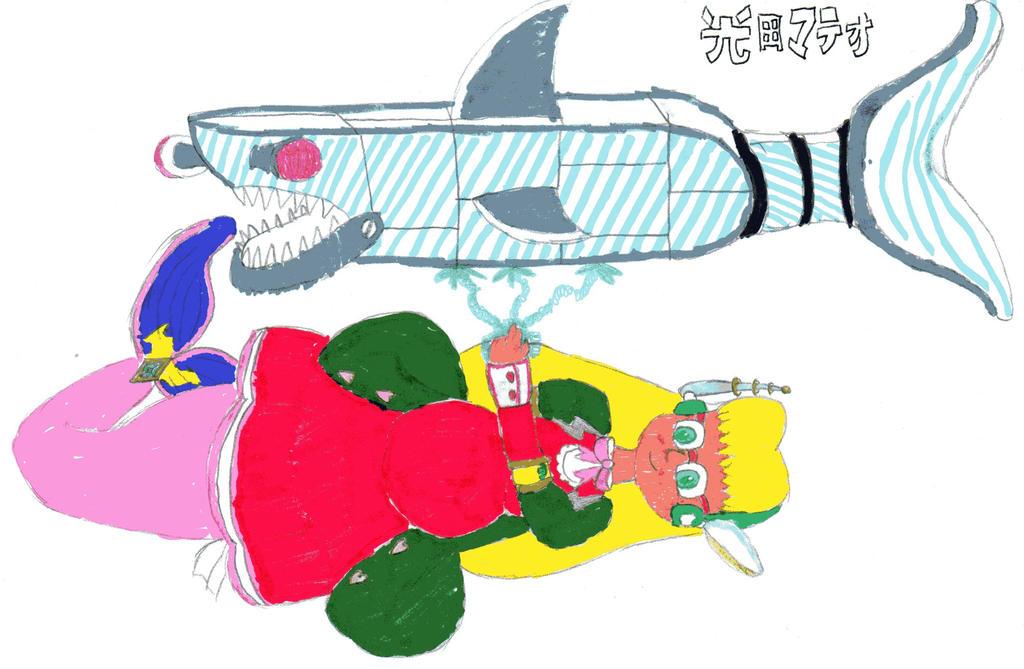 Tsuki-Melody Fights a Mecha-Shark by DBCDude01
