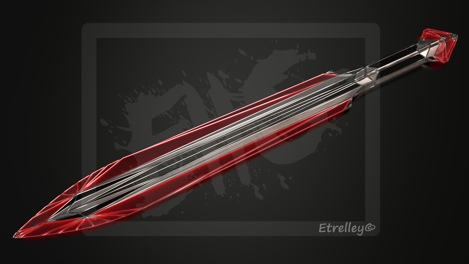 Red Geometric Dagger (Sci-fi) - OC by Etrelley