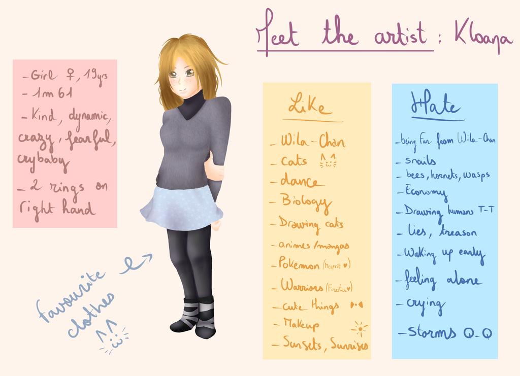 Meet the artist ~ by Kloana23