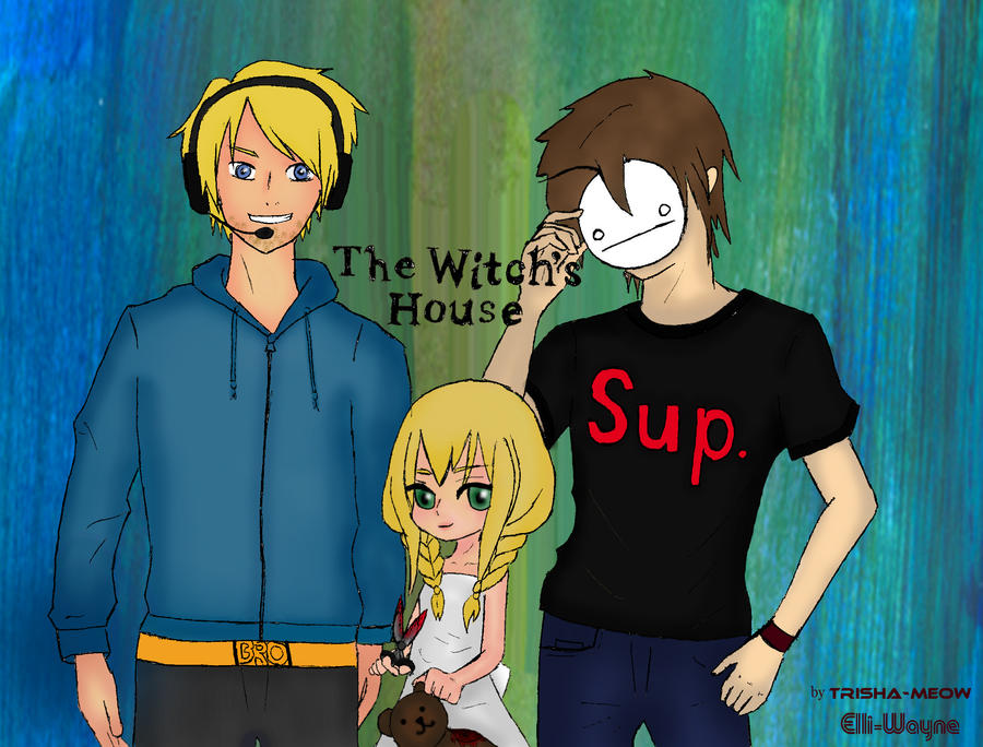 Pewdiepie and Cry at The Witch's House by Trisha-Meow