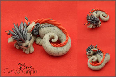 Sleeping Cayo Dragon - polymer clay by CalicoGriffin