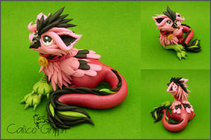 Strawberry the griffin - polymer clay by CalicoGriffin