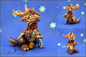 Christmas Reingriff #1 - polymer clay figurine by CalicoGriffin