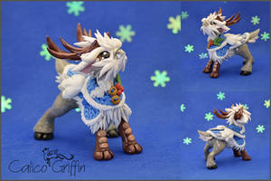 Christmas Reingriff #4 - polymer clay figurine by CalicoGriffin