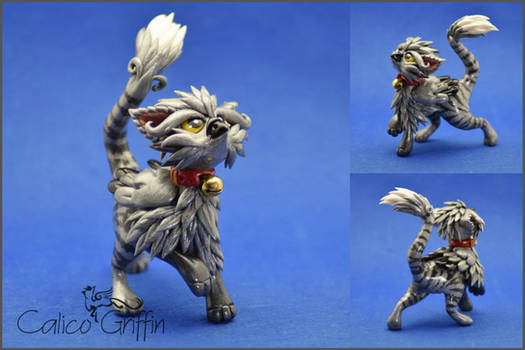 Tobi the Tabby griffin - polymer clay