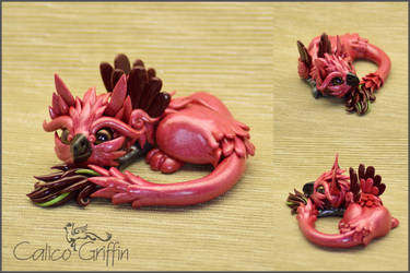 Pink Griffin - polymer clay figurine by CalicoGriffin