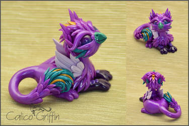 Purple Griffin - polymer clay figurine by CalicoGriffin