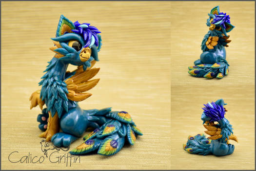 Crissi the peacock Griffin - polymer clay