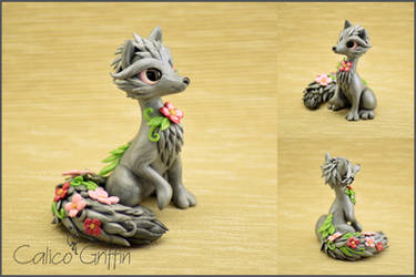Flower Fox - polymer clay figurine by CalicoGriffin