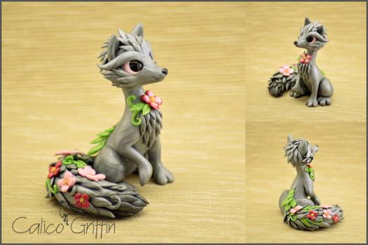 Flower Fox - polymer clay figurine