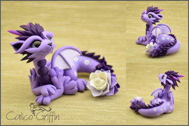 Flower Dragon - polymer clay figurine by CalicoGriffin