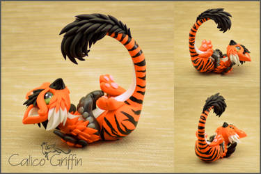 Tiger Griffin - polymer clay figurine by CalicoGriffin
