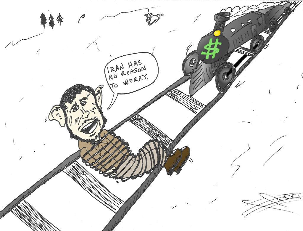 Ahmedinajad tied to the train tracks cartoon by optionsclickblogart