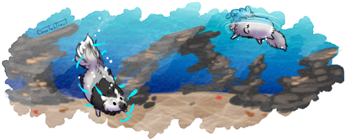 Tokotas diving for fluffy 1 by cheetahtrout