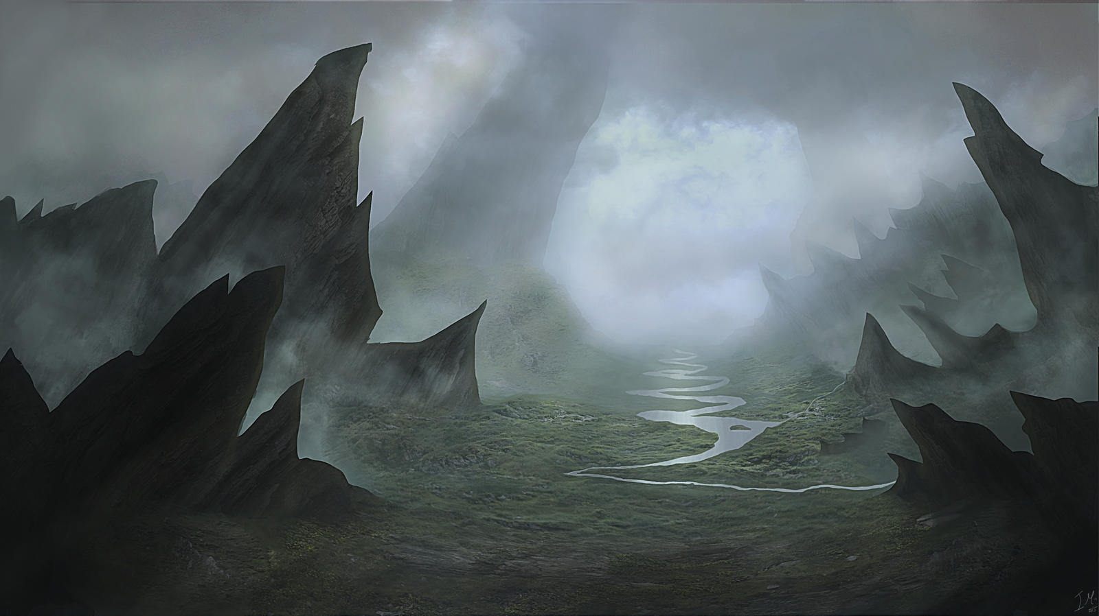 Landscape - Fantasy - Dark Valley by Sinate on DeviantArt
