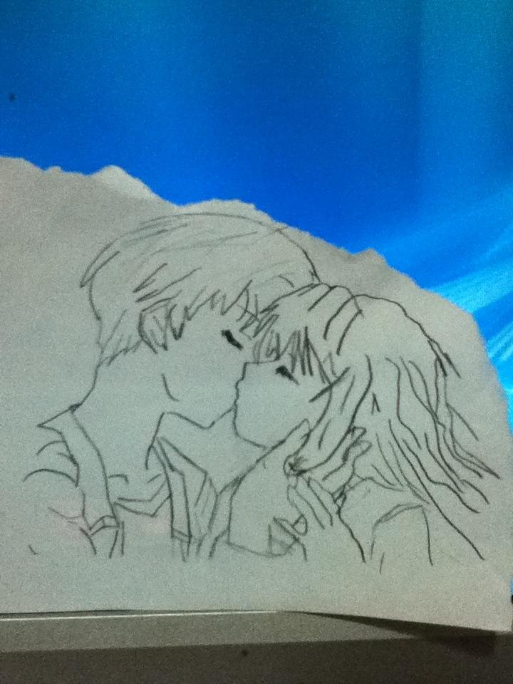 Anime kissing by eyannaandkianalovesu
