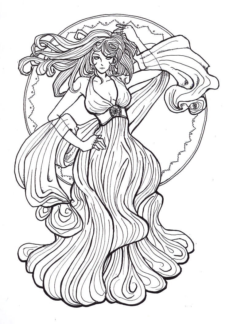 Alphonse Mucha Coloring Pages Sketch