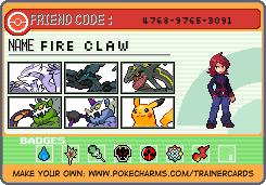 Fire Claw as a Pokemon tranier by XeonDarkfire