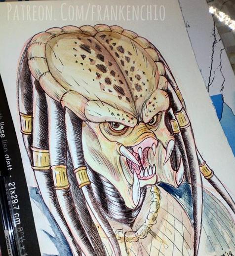 Yautja watercolor sketch by Silver-Ray