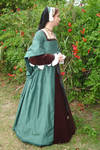 Green Silk Tudor Gown Side Front