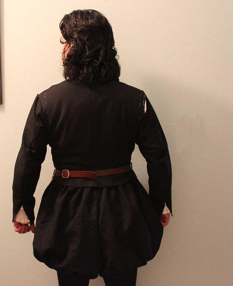 Black linen doublet and trunkhose back shot by CenturiesSewing