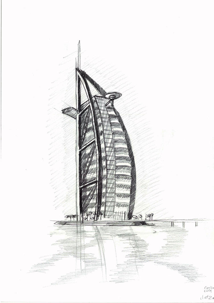 Burj al arab sketch by existtraiesc on deviantart for Burj khalifa sketch