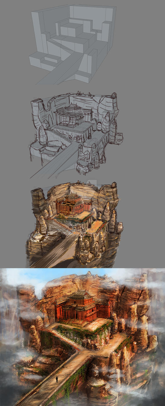 Ruined Temple - process by Virandile