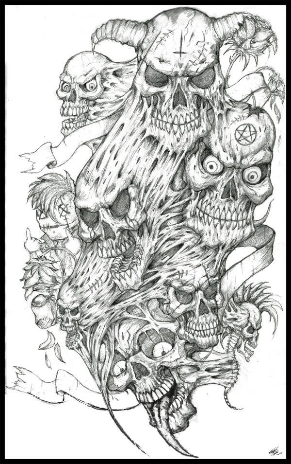 skulls tattoo design by peter ortiz on deviantart. Black Bedroom Furniture Sets. Home Design Ideas